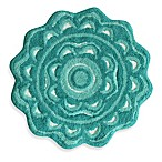 Jessica Simpson 2-Foot 2-Inch Medallion Bath Rug in Aqua/White