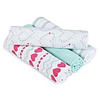 aden® by aden + anais® Light Hearted Muslin 4-Pack swaddleplus® Blankets in Blue/Pink