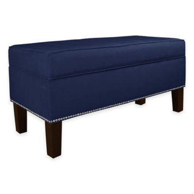 Skyline Furniture Franklin Storage Bench In Velvet Navy