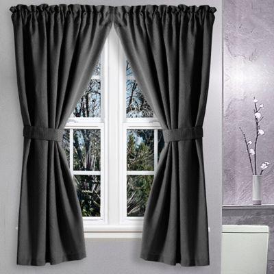 Avalon 36 Inch X 45 Inch Bath Window Curtain Pair In Black