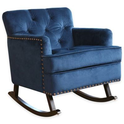 Upholstered U003e Abbyson Living® Thatcher Nursery Rocker With Nailhead Trim In  Sapphire Blue