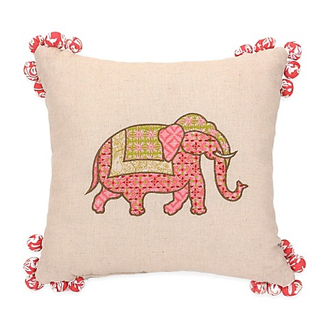 Elephant Throw Pillow Bed Bath And Beyond : Jessica Simpson Amrita Medallion Elephant Square Throw Pillow in Coral - Bed Bath & Beyond