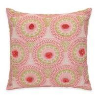 Jessica Simpson Amrita Medallion Crochet Flowers Square Throw Pillow in Coral