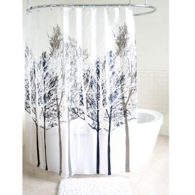 grey shower curtain liner. Forest PEVA Shower Curtain in Grey Buy Elegant Curtains from Bed Bath  Beyond