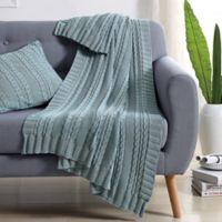 Abode Dublin Knit Throw in Spa Blue