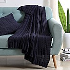 VCNY Abode Dublin Knit Throw Blanket in Navy