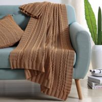 Abode Dublin Knit Throw in Camel