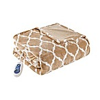 Beautyrest Ogee Oversized Heated Throw in Tan
