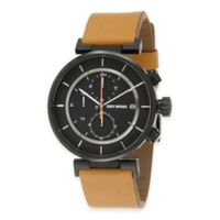 Issey Miyake Men's 43mm W Chronograph Watch with Black Dial in Stainless Steel with Tan Strap