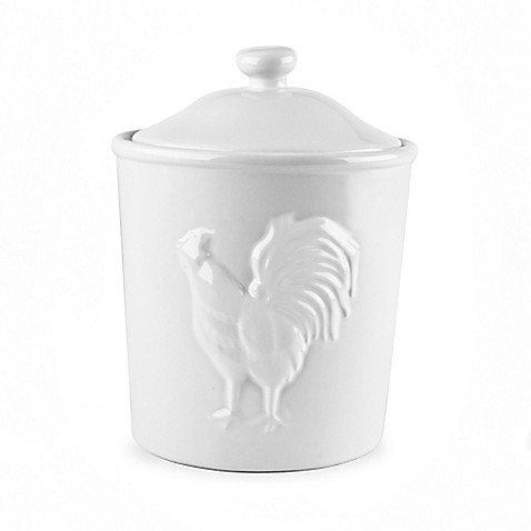 buy 32 oz ceramic rooster canister in white from bed bath morning rooster 3 piece glass kitchen storage canister set