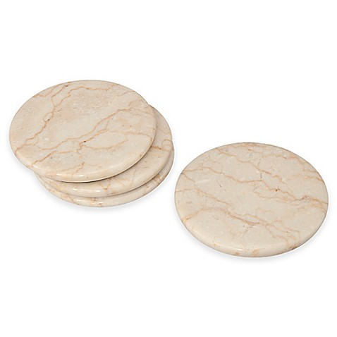 byzantine marble coasters in champagne set of 4 bed bath beyond. Black Bedroom Furniture Sets. Home Design Ideas
