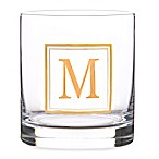 "Home Essentials & Beyond Monogram Block Letter ""M"" Double Old Fashioned Glass"