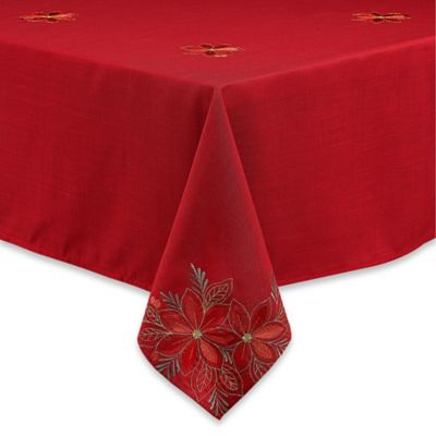 Sam Hedaya Poinsettia Filigree 60 Inch X 84 Inch Oblong Tablecloth