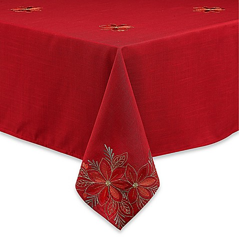 Poinsettia Filigree Tablecloth Bed Bath Amp Beyond