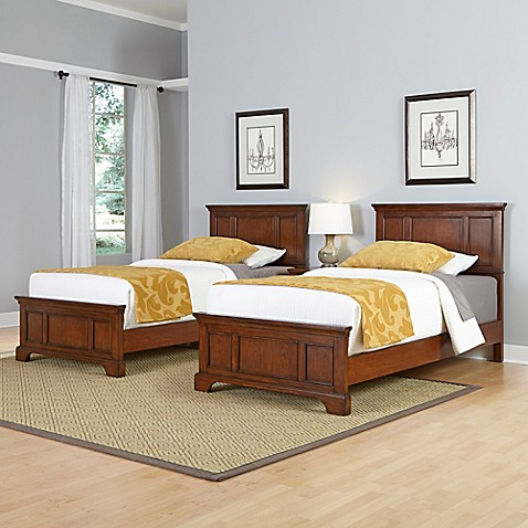 Home styles chesapeake 3 piece twin beds and nightstand set in cherry bed bath beyond for Twin bedroom furniture sets for adults