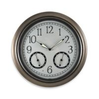 FirsTime® Indoor/Outdoor LED Trellis Wall Clock and Thermometer in Bronze
