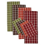 Autumn Check Plaid Heavyweight Kitchen Towels and Dish Cloths (Set of 8)