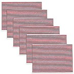 Ribbed Peppermint Striped Placemats in Red (Set of 6)