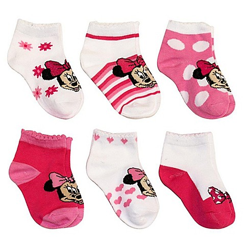 Disney 174 6 Pack Minnie Mouse Socks In Assorted Designs