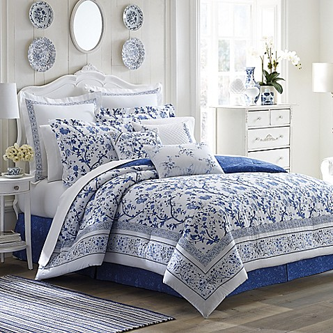 Laura Ashley 174 Charlotte Comforter Set In China Blue Bed