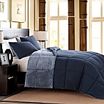 Mélange Fur Reversible Full/Queen Comforter Set in Blue
