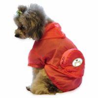 Thunder Paw Small Waterproof Adjustable Zippered Folding Travel Dog Raincoat in Orange