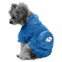 Thunder Paw Extra Small Waterproof Adjustable Zippered Folding Travel Dog Raincoat in Blue