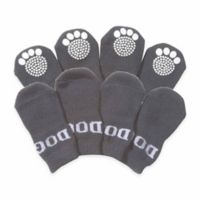 Rubberized Sole Small Dog Socks in Grey/Black (Set of 4)