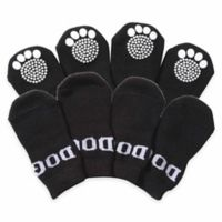 Rubberized Sole Small Dog Socks in Black/White (Set of 4)