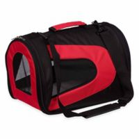 Airline Approved Sporty Folding Zippered Mesh Medium Pet Carrier in Red/Black