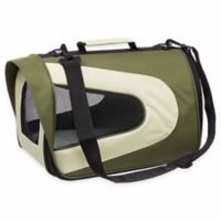 Airline Approved Sporty Folding Zippered Mesh Large Pet Carrier in Green/Khaki