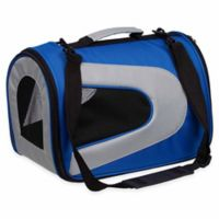 Airline Approved Sporty Folding Zippered Mesh Large Pet Carrier in Blue/Grey