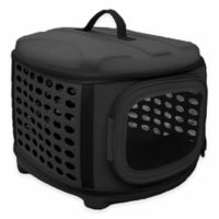 Pet Life™ Circular Shell Perforate Collapsible Pet Carrier in Black