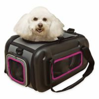 Pet Life™ Airline Approved Collapsible Contoured Pet Carrier in Pink/Grey