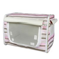 Easy Folding Zippered Medium Pet Crate in Pink Stripe