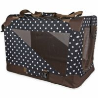 Folding Zippered 360-Degree Vista View Extra Small Pet Crate in Polka Dot