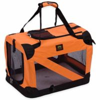 Folding Zippered 360-Degree Vista View Extra Small Pet Crate in Orange