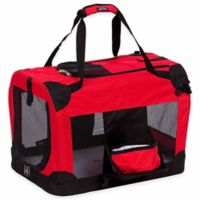 Folding Deluxe 360-Degree Vista View Large Pet Crate in Red