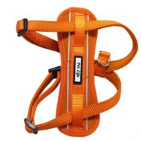 Easy Pull Small Adjustable Chest Compression Reflective Dog Harness in Orange