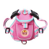 Adjustable Mesh Large Pet Harness with Reflective Trim in Pink