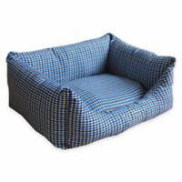 Small Rectangular Dog Bed in Blue Plaid