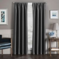 Sebastian 63-Inch Rod Pocket Insulated Total Blackout Window Curtain Panel in Charcoal
