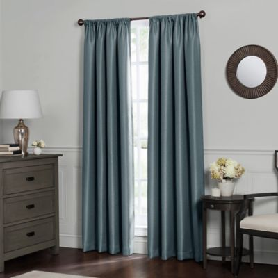 Emery 63 Inch Rod Pocket Insulated Total Blackout Window Curtain Panel In  Blue Haze