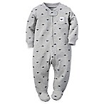 carter's® Size 3M Zip-Front Whales Footie in Grey/Navy