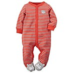 carter's® Size 3M Snap-Front Dog Striped Footie in Red/Grey