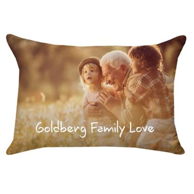 14inch x 20inch rectangle dual sided photo faux down throw pillow
