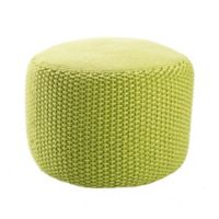 Jaipur Rustic Solid Pattern Pouf in Green