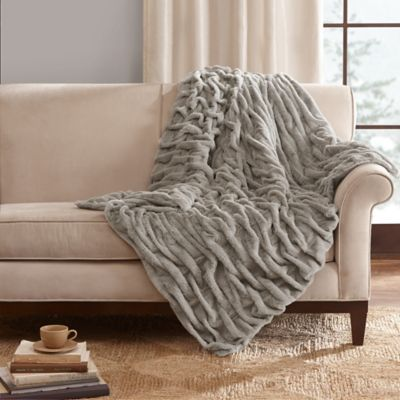 Madison Park Ruched Faux Fur Throw In Grey