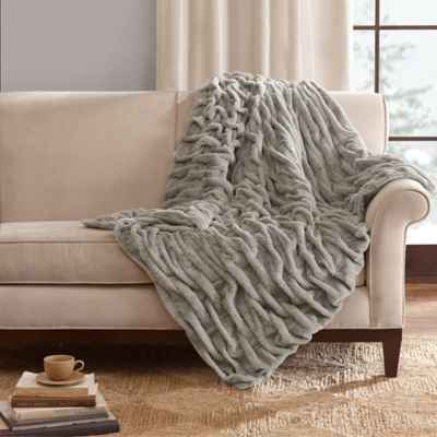 Madison Park Ruched Faux-Fur Throw in Grey