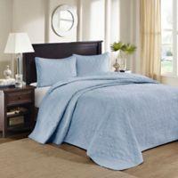 Madison Park Quebec Reversible King Bedspread Set in Blue